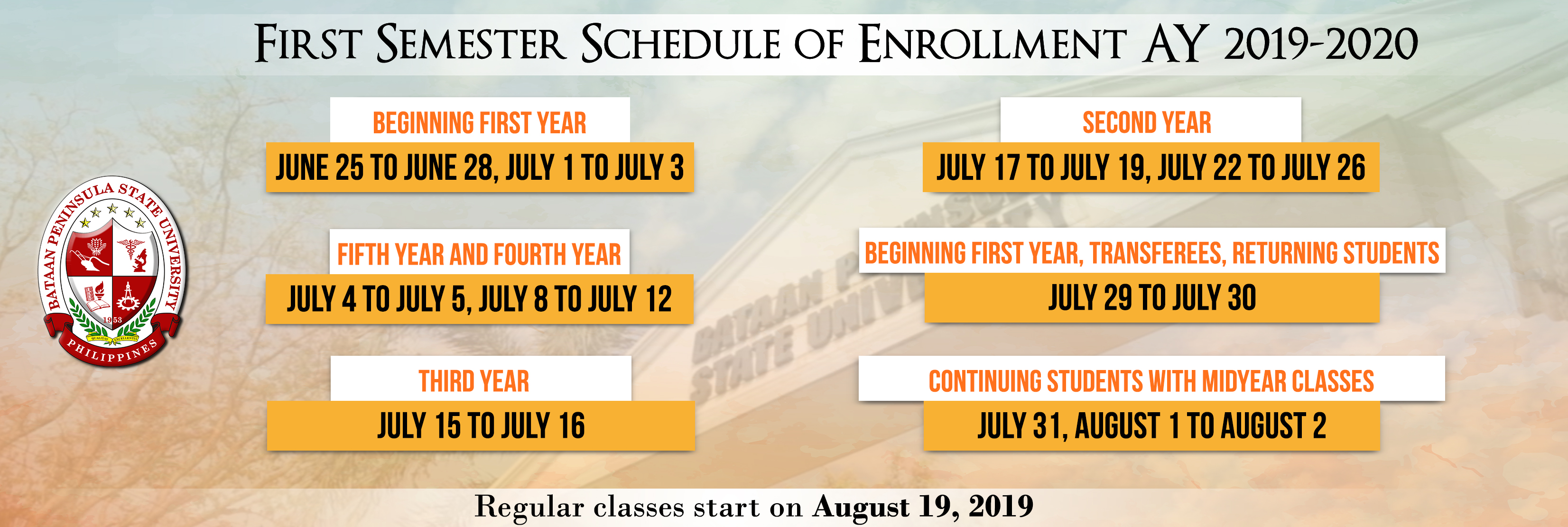 First Semester Schedule of Enrollment AY 2019-2020